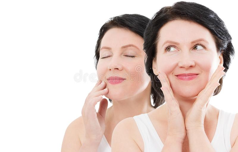 Beauty middle age woman collage face portrait. Spa and anti aging concept Isolated on white background. Plastic surgery royalty free stock photo