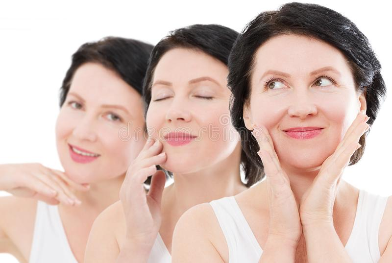 Beauty middle age woman collage face portrait. Spa and anti aging concept Isolated on white background. Plastic surgery stock image