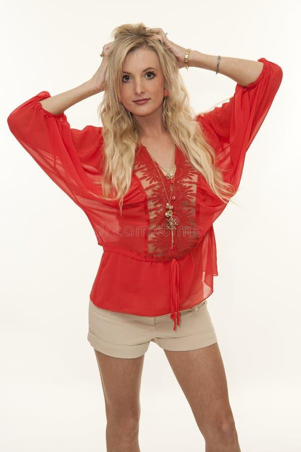 Beauty model blonde isolated on white background stock photo