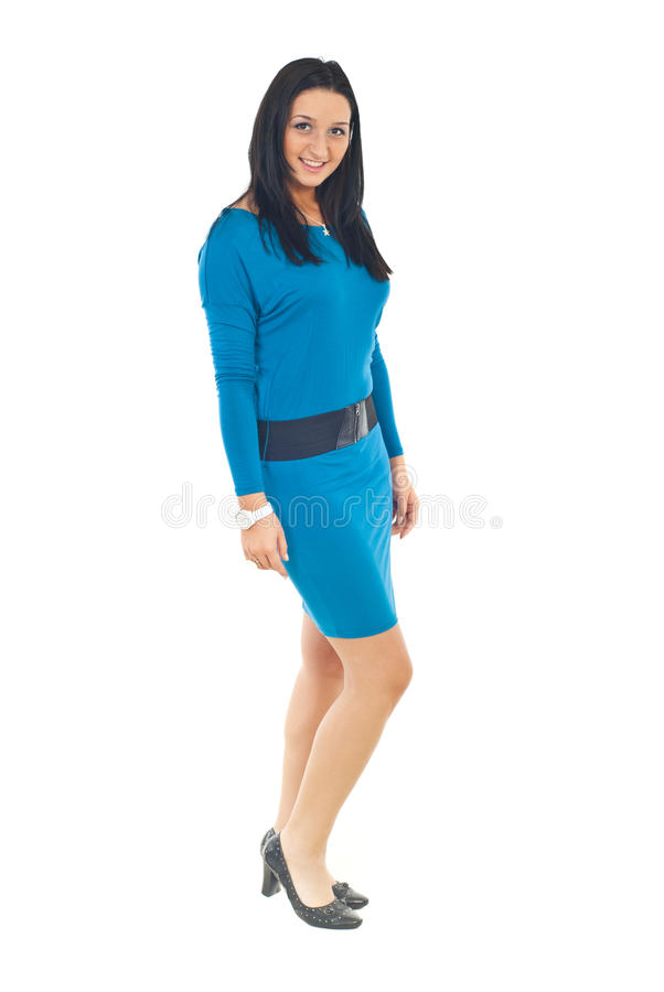 Beauty model in blue tight dress stock photos