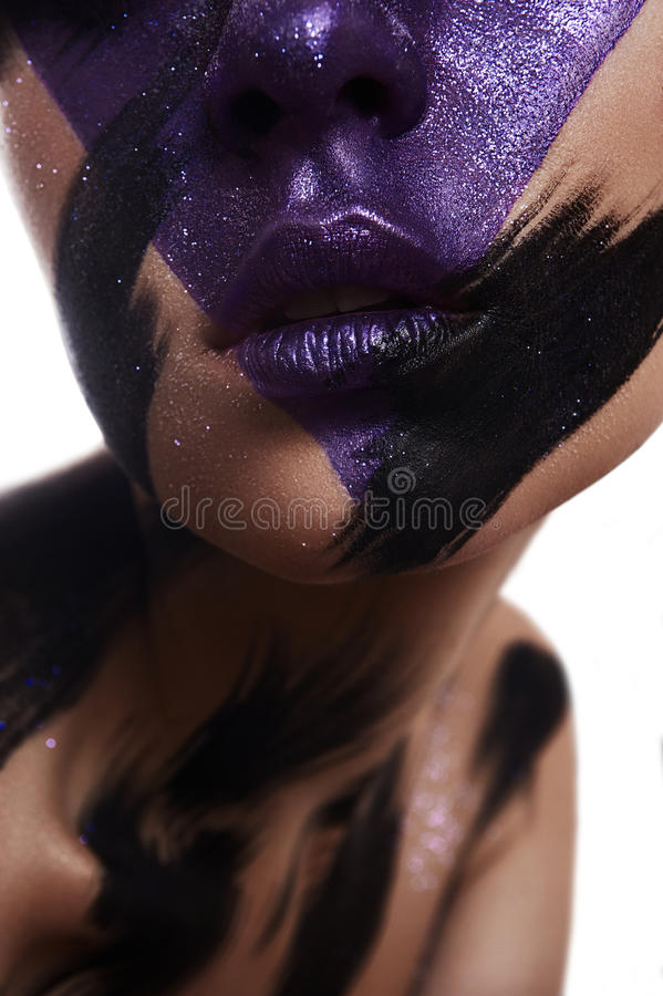 Beauty Model with creative Makeup on Skin royalty free stock image