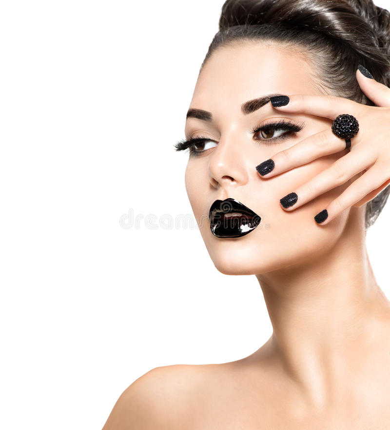 Beauty model girl with black makeup and long lushes royalty free stock images