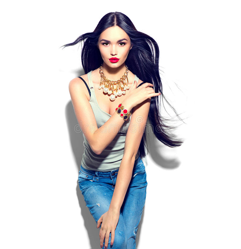 Beauty model girl with long straight flying hair stock photography