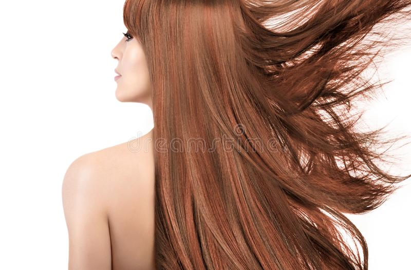 Beauty model with gorgeous long hair with highlights. Coloring t. Beauty model with a smooth unblemished skin, naked shoulders and her gorgeous long coppery hair royalty free stock photo