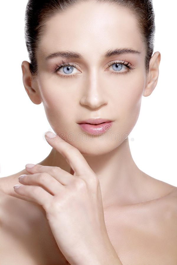 Beauty model showing clean fresh healthy skin. On white stock photos