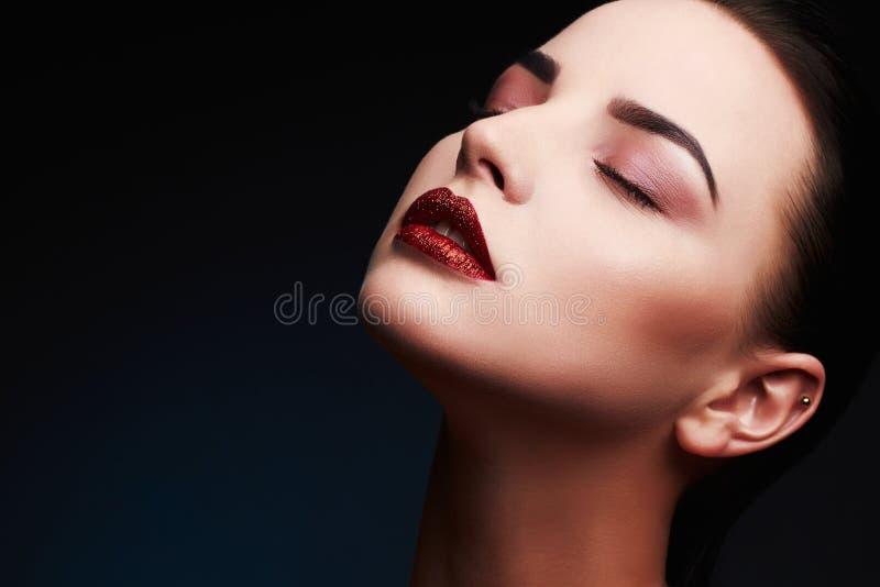 Beauty Model Woman.Beautiful Gorgeous Glamour Lady Portrait.Sexy Lips. Beauty Red Lips Makeup. Detail.glitter lips royalty free stock image