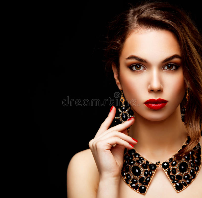 Beauty Model Woman with Long Brown Wavy Hair stock photography