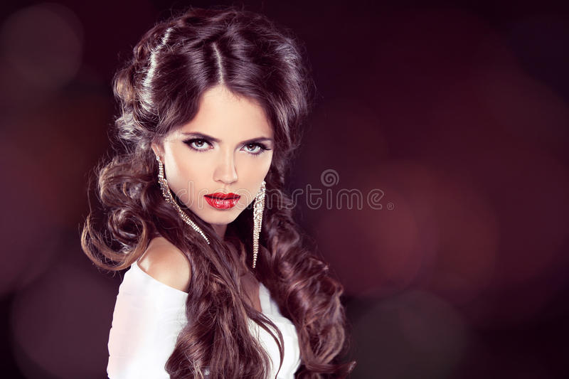 Beauty Model Woman With Professional Makeup. Hairstyle