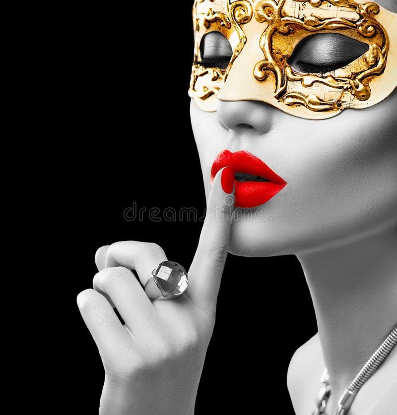 Beauty model woman wearing venetian mask royalty free stock photos