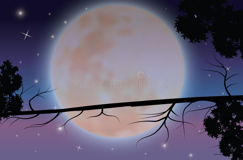 The Beauty of the Moon in Nature , Vector illustrations landscape royalty free illustration