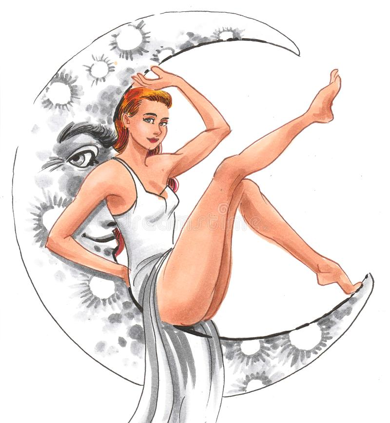 Beauty and moon stock illustration