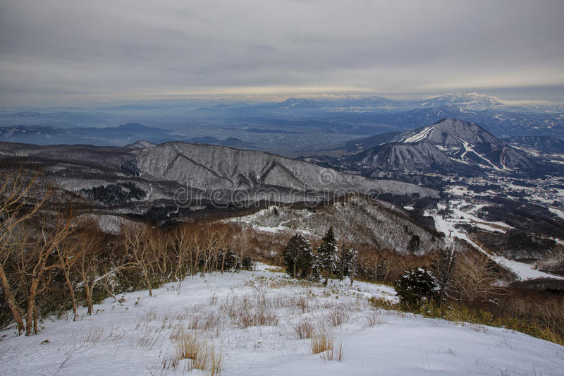 The beauty of the mountain. A ski place where the best view is at. Japan, Yudanaka. Ryuoo Ski Park stock images