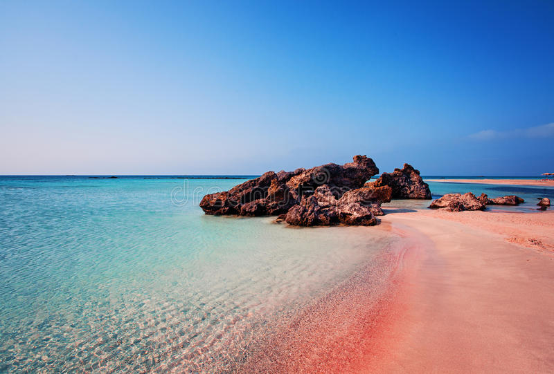 Beauty of Nature. Beautiful Elafonissi Beach with Pink Sand. On Crete Island, Greece stock photos