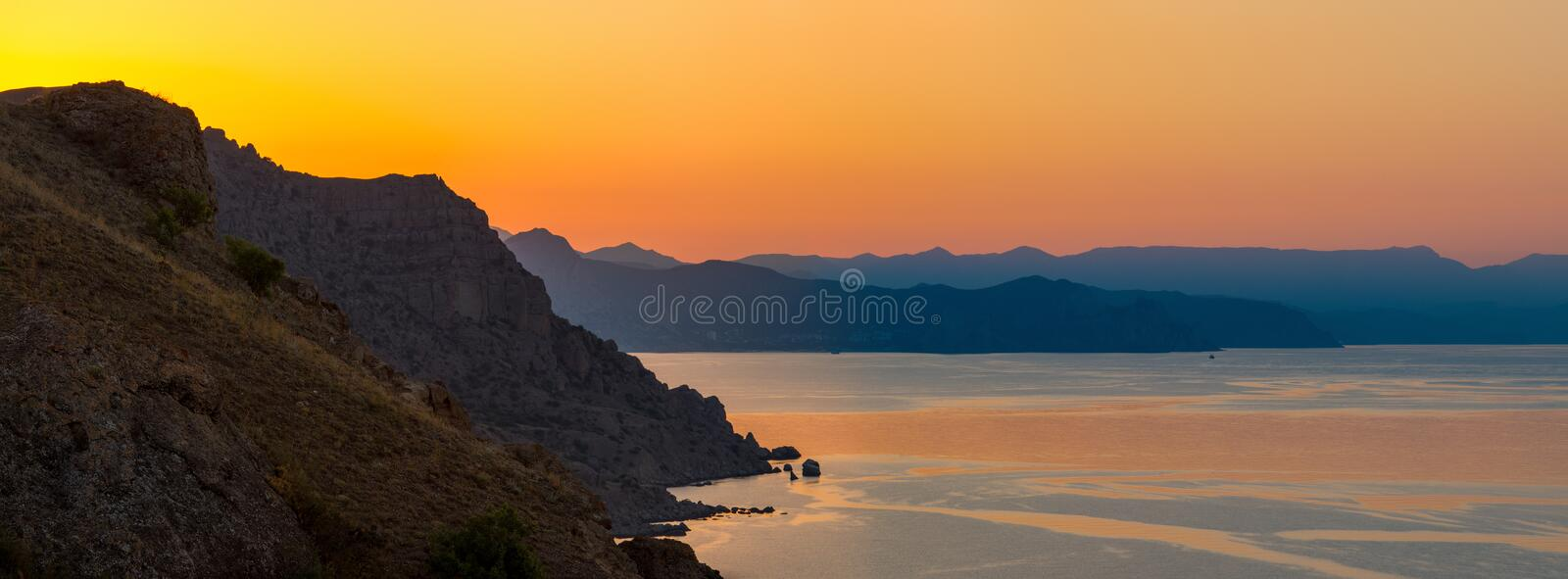 Beauty nature evening or morning sea landscape stock photo