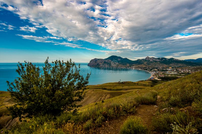 Beauty nature landscape Crimea, Koktebel town. Horizontal photo royalty free stock images