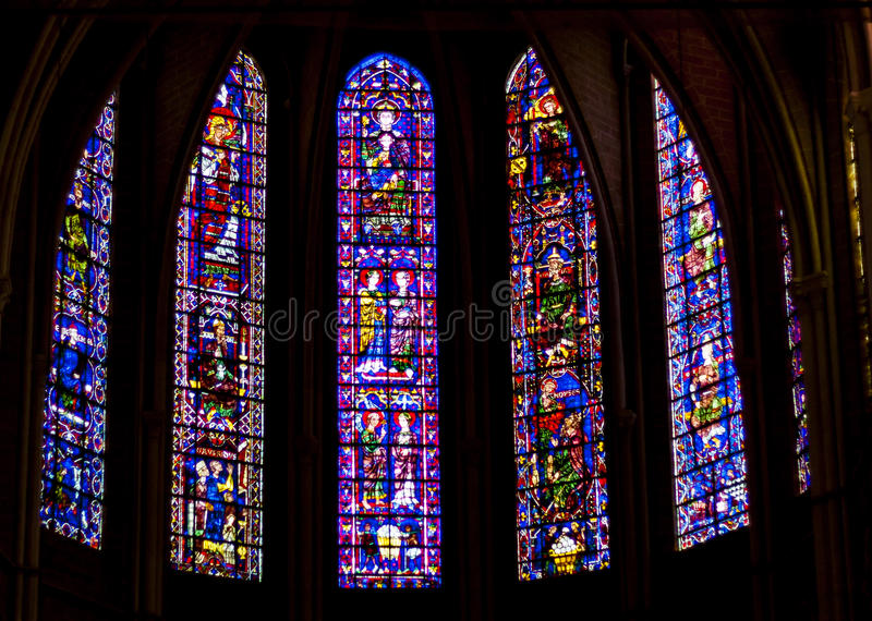 Beauty old stained-glass windows in Cathedral of Our Lady of Chartres (Cathédrale Notre-Dame de Chartres) - France. UNESCO Place royalty free stock photography