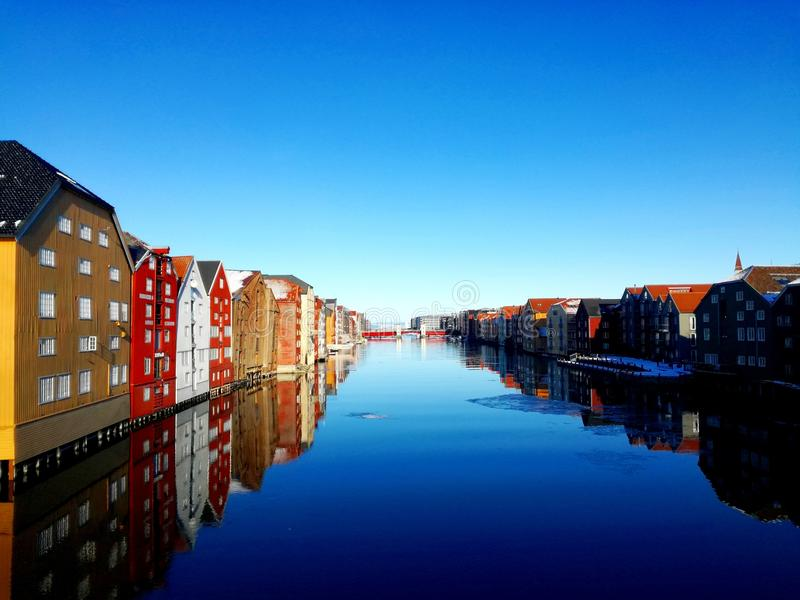 Old Town in Trondheim stock image