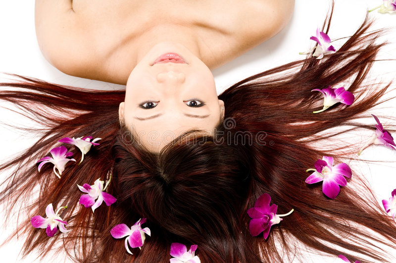 Beauty With Orchids stock photos