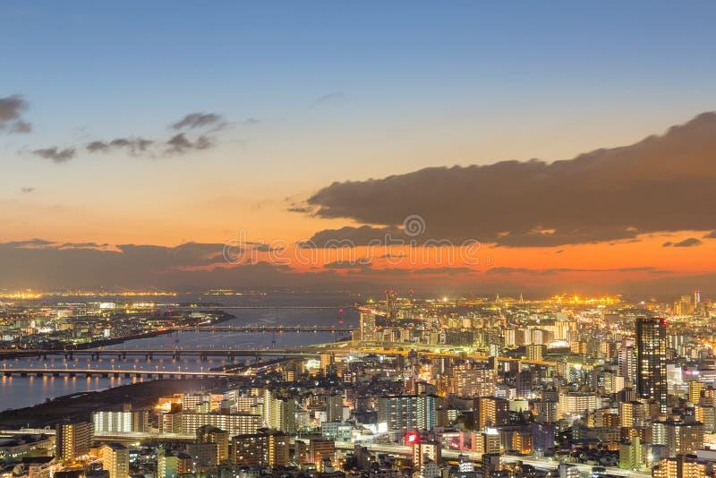 Beauty Osaka city skyline after sunset sky stock photo