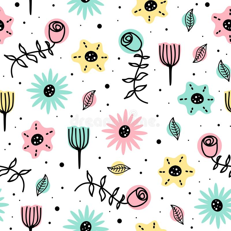 Beauty pattern of flowers seamless drawing background with cute scandinavian hand drawn for baby and kids fashion. Floral, wallpaper, illustration, leaf royalty free illustration
