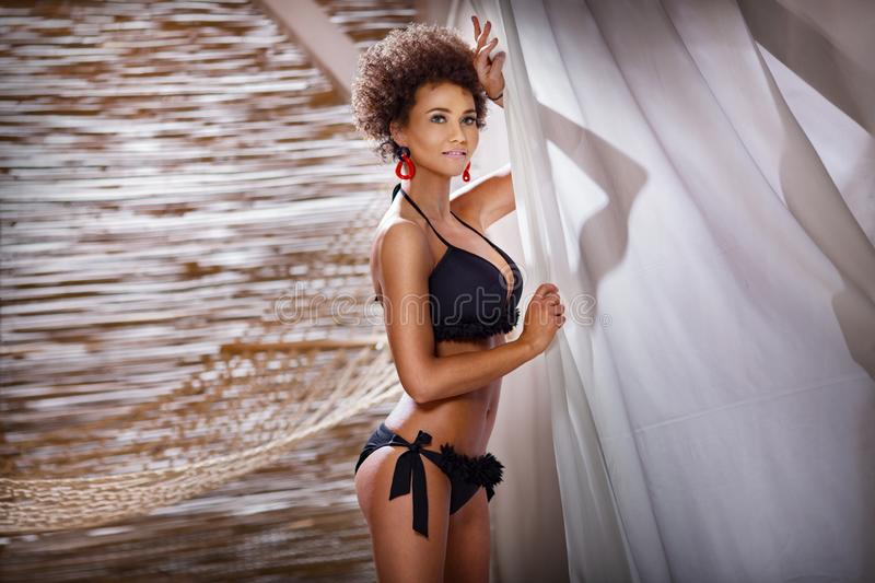 Beauty portrait of natural girl with afro stock images