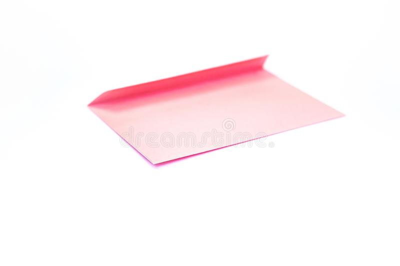 Beauty pink envelope; branding mock up; front view royalty free stock photography