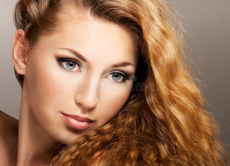 Beauty portrait. Beautiful girl face, long hair stock photo