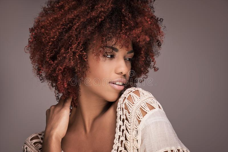 Beauty portrait of girl with afro hairstyle. royalty free stock photography