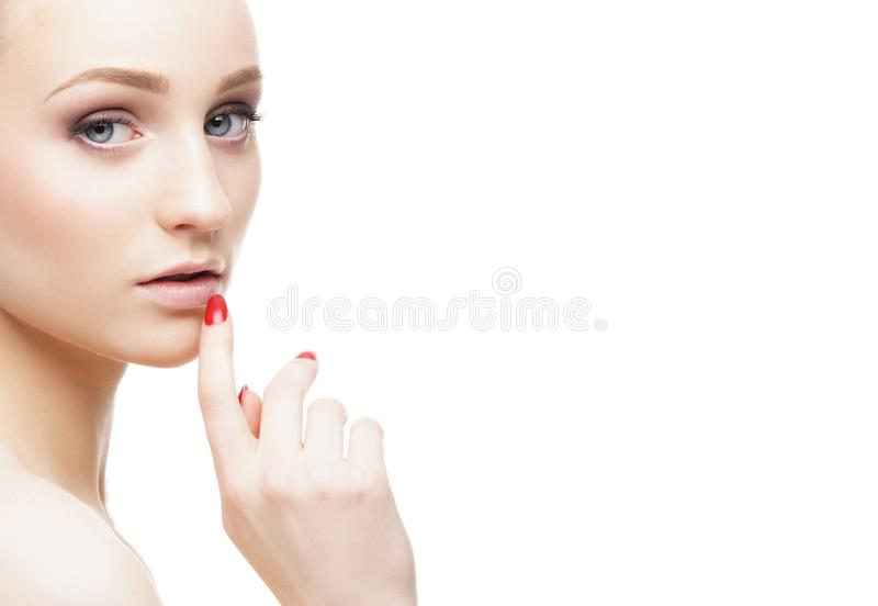 Beauty portrait of attractive blond girl. Makeup and cosmetics concept. Portrait of young and beautiful blond woman. Makeup and cosmetics, face lifting and stock images
