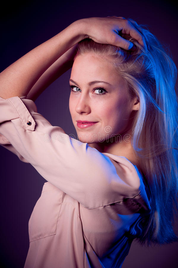 Beauty portrait of attractive caucasian woman with blond hair stock images