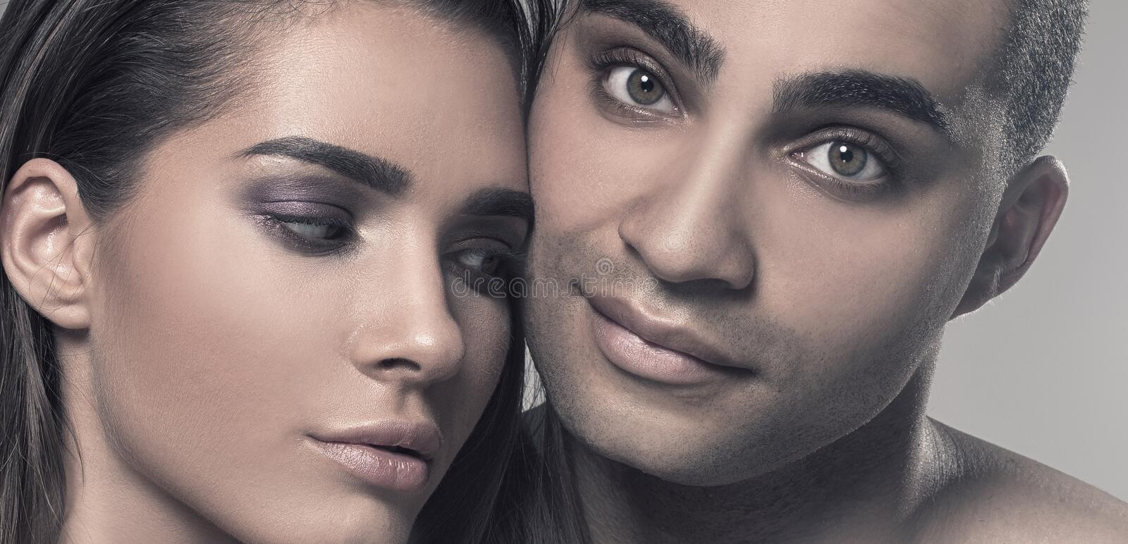 Beauty portrait of attractive couple. royalty free stock images
