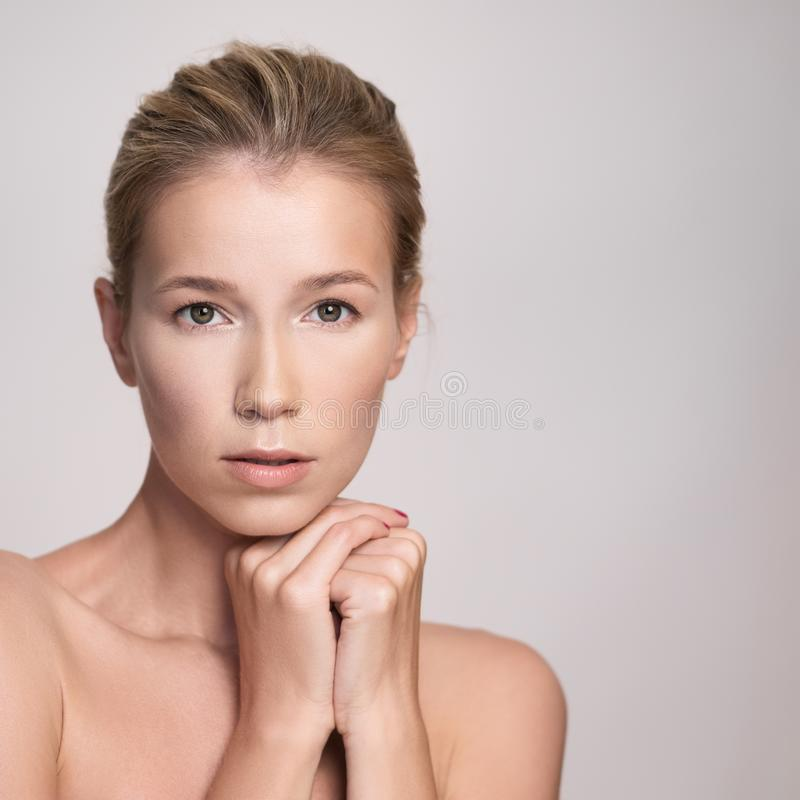 Beauty portrait of attractive middle age blonde woman royalty free stock images