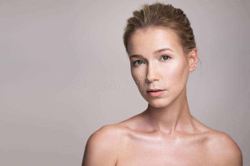 Beauty portrait of attractive middle age blonde woman stock images