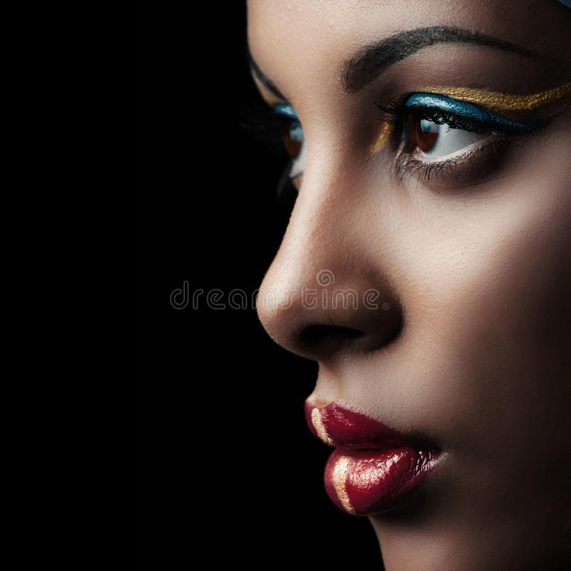 Beauty portrait of beautiful black girl profile closeup studio shot royalty free stock photos