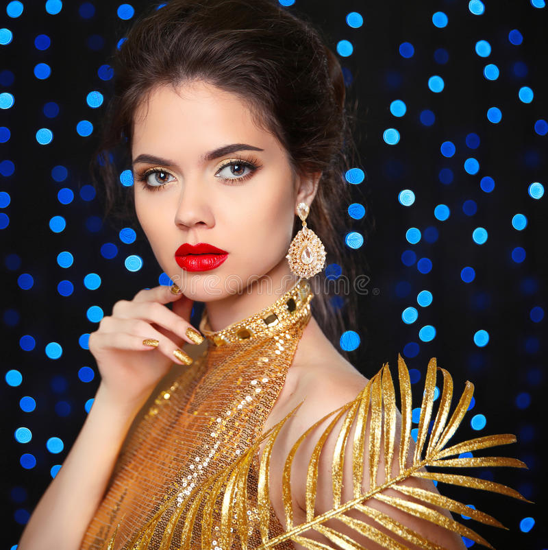 Fashion Beauty Model Girl Stock Image Image Of Manicured: Beauty Portrait Of A Beautiful Fashion Girl Model With Red