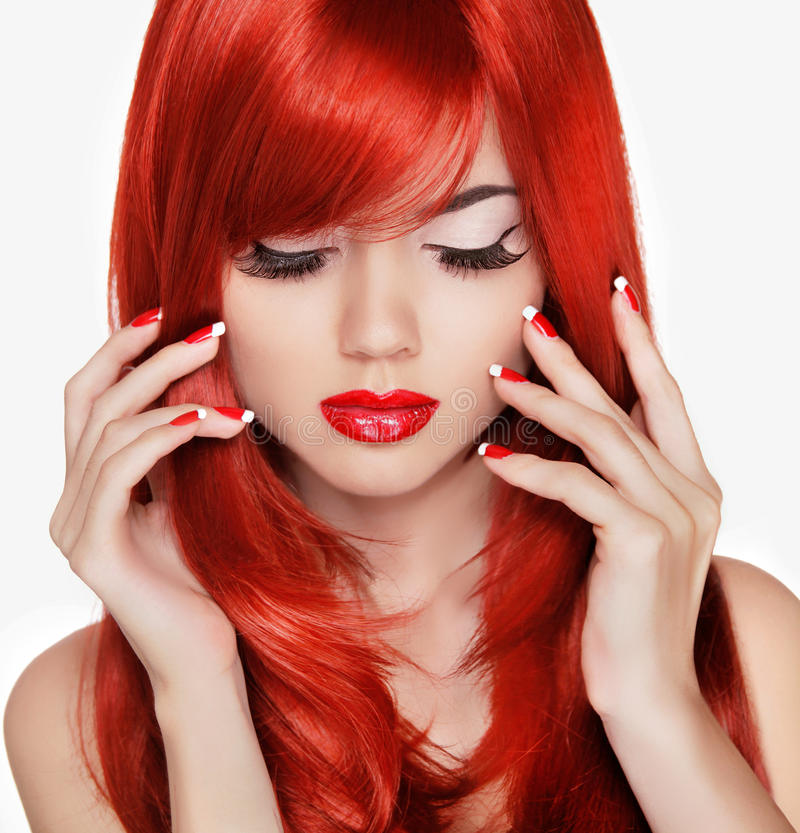 Fashion Beauty Model Girl Stock Image Image Of Manicured: Beauty Portrait. Beautiful Girl With Red Long Hair