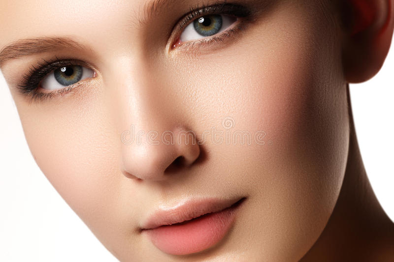 Beauty Portrait. Beautiful Spa Woman. Perfect Fresh Skin. Isolated on White Background. Pure Beauty Model. Youth and Skin Care Co stock photos