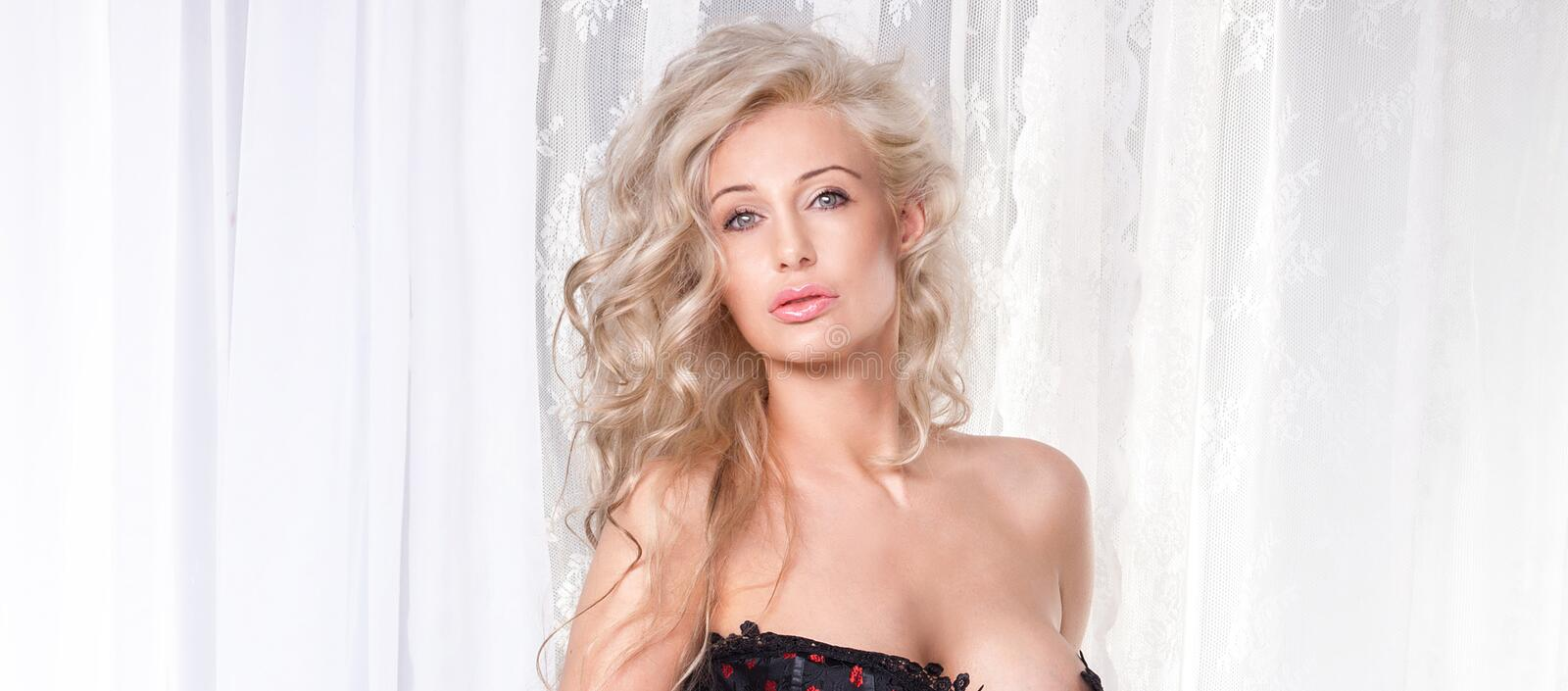 Beauty portrait of blonde lady stock image