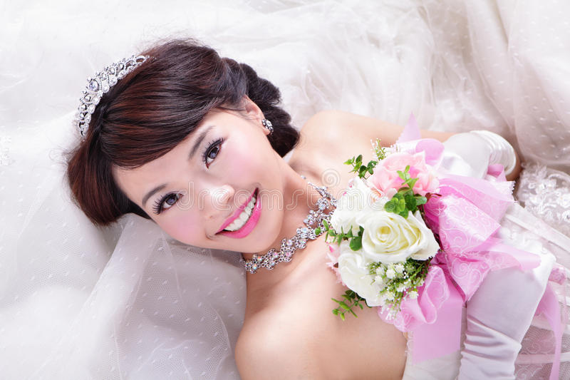 Download Beauty Portrait Of Bride With Roses Stock Photo - Image of bride, happiness: 33556630