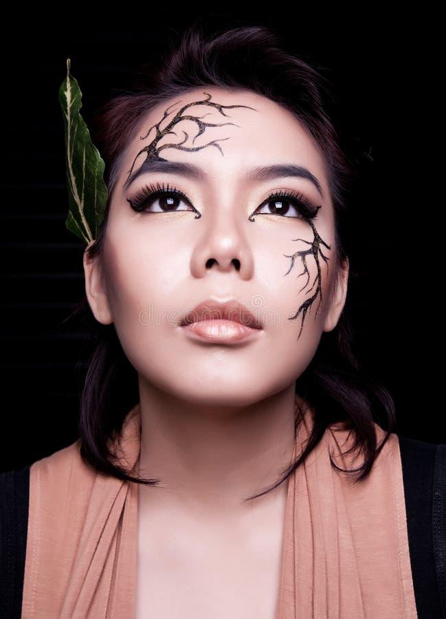 Beauty portrait. Creative makeup stock image