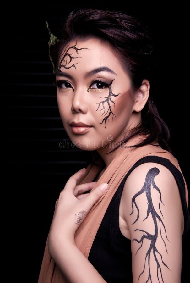 Beauty portrait. Creative makeup royalty free stock image