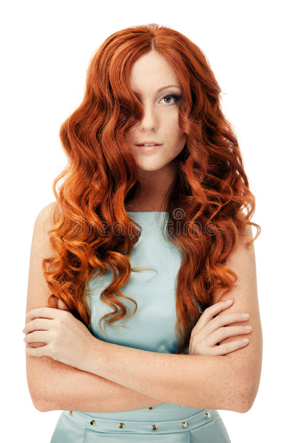 Beauty Portrait. Curly Hair. Isolated stock photography