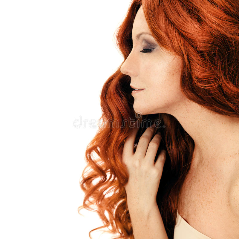 Beauty Portrait. Curly Hair. Isolated royalty free stock photo