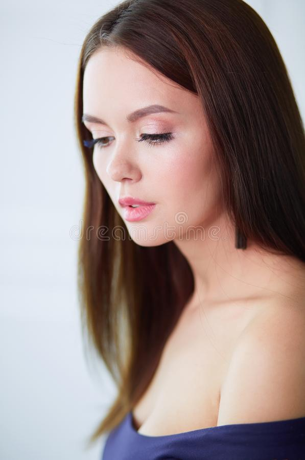 Beauty portrait of female face with natural skin.  royalty free stock images