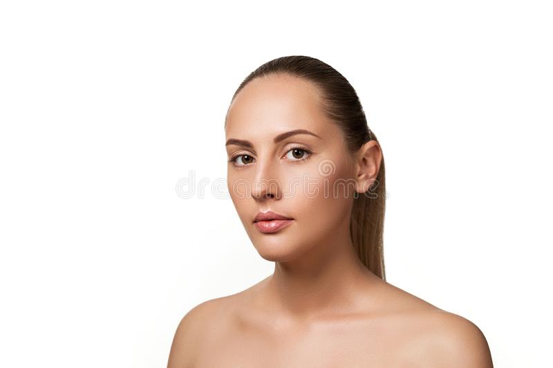Beauty portrait of female face with natural skin royalty free stock image