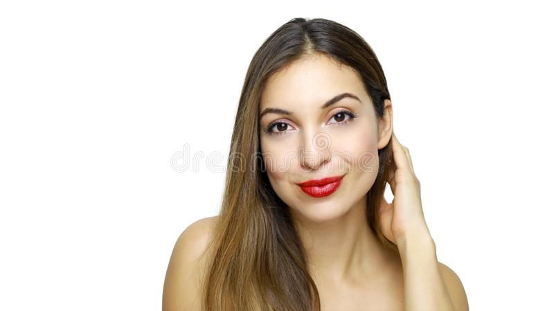 Beauty portrait of female face with natural skin and red lipstick royalty free stock image
