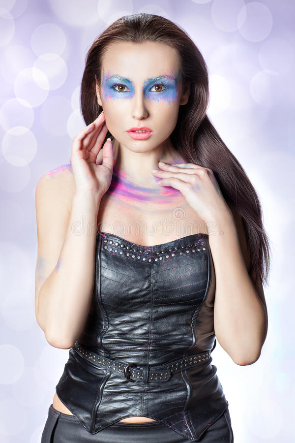 Beauty portrait of a girl with makeup. stock photography