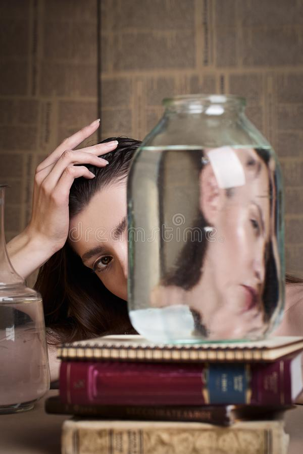 Beauty portrait of girl with water and reflections. Hight quality retouching photo. Fashion model royalty free stock photography