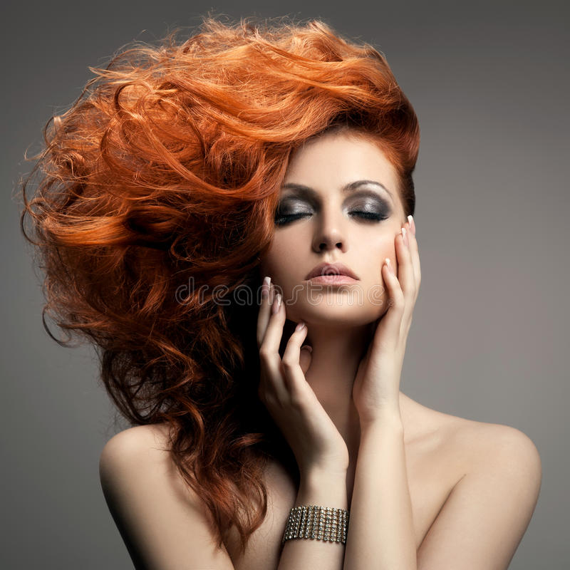 Beauty Portrait. Hairstyle royalty free stock images