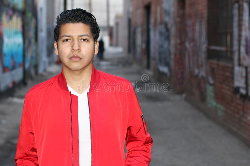 Beauty Portrait of Handsome Hispanic Young Male, Outdoors stock photos